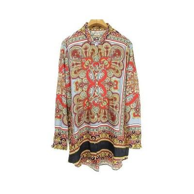 【中古】ザラ ZARA ロングシャツ ブラウス スカーフ柄 長袖 L マルチカラー レディース 【ベクトル 古着】