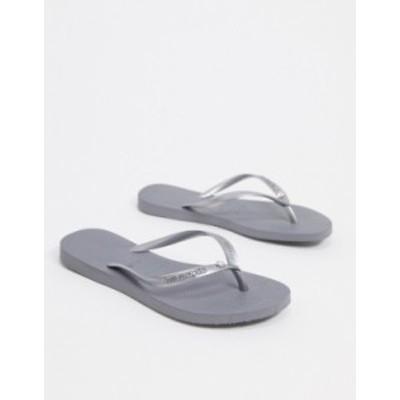 ハワイアナス レディース サンダル シューズ Havaianas slim crystal flip flops in gray Steel gray