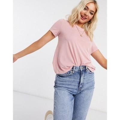 モンキ レディース Tシャツ トップス Monki Jolin recycled polyester t-shirt in rose Pink