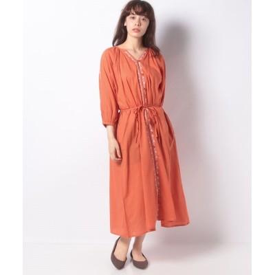 (koe/コエ)フロント刺繍ワンピース/レディース オレンジ