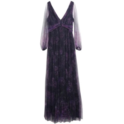 マルケッサ・ノッテ MARCHESA NOTTE ロングワンピース&ドレス ダークパープル 10 ナイロン 100% ロングワンピース&ドレス