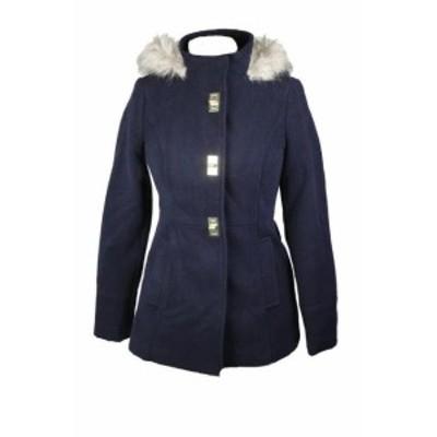 Maralyn  ファッション 衣類 Maralyn & Me Juniors Navy Blue Hooded Faux-Fur-Trim Coat XL