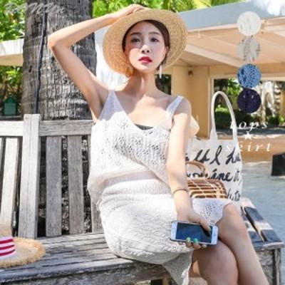 編み夏 ニット セットアップ ツーピース ワンピース ドレス スカート キャミソール トップス 旅行 海 ビーチウェア 韓国(fl000267)