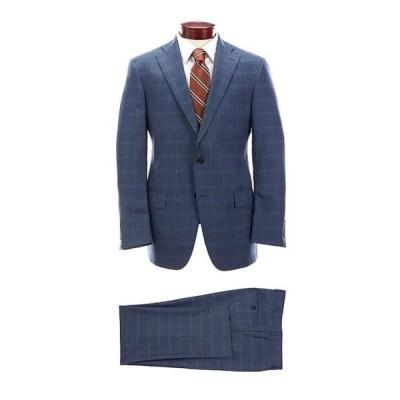 ハート シャフナー マルクス メンズ ジャケット・ブルゾン アウター Classic Fit Blue Plaid Flat Front Wool Suit