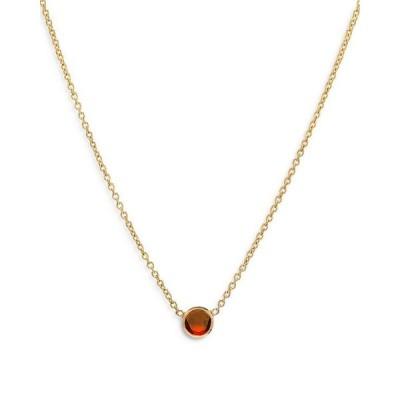 ゾエレフ レディース ネックレス・チョーカー アクセサリー 14K Yellow Gold Garnet Birthstone Solitaire Pendant Necklace 16-18