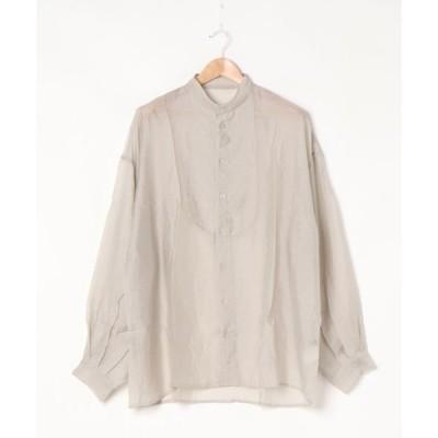シャツ ブラウス シアーポプリンブザム切り替えバンドカラービッグシャツブラウス