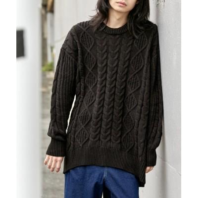 ニット 【BASQUE -enthusiastic design-】ビッグシルエット アラン編み クルーネック ケーブルニットセーター