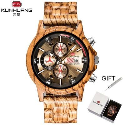メンズ腕時計 REMZEIM 天然木 防水 クロノグラフスタイルミリタリーウォッチ イエロー
