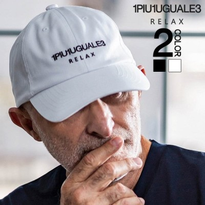 1PIU1UGUALE3 RELAX(ウノピゥウノウグァーレトレ)フロントロゴ刺繍キャップ(ブラック/ホワイト)