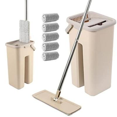 モップ フロアモップ モップバケツセット 床掃除モップ 手洗い不要 乾湿両用 腰曲げず 360度回転 取り替えパッド5枚付き 床・風呂・業務