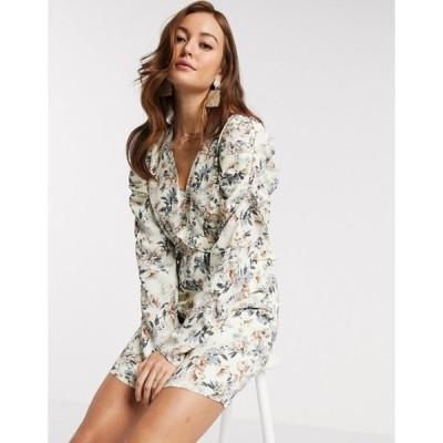 ワイエーエス レディース ワンピース トップス Y.A.S mini dress with v neck and long sleeves in floral print