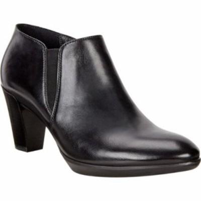 エコー ヒール Shape 55 Plateau Stack Shootie Black/Black Calf Leather