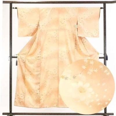 リサイクル着物 小紋 正絹薄茶ぼかし花柄袷小紋着物