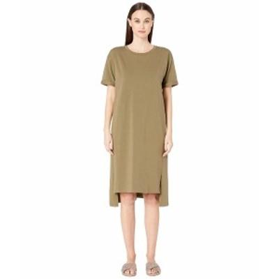 エイリーンフィッシャー レディース ワンピース トップス Organic Cotton Jersey Short Sleeve Dress Olive