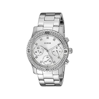 GUESS Women's U0851L1 Sporty Silver-Tone Watch with Silver Dial %カンマ% Cryst