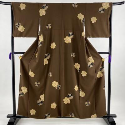 小紋 美品 秀品 楓 桜 縮緬 茶色 袷 身丈157.5cm 裄丈65cm M 正絹 中古