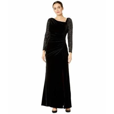 アドリアナ パペル ワンピース トップス レディース Velvet and Sequin Gown Black