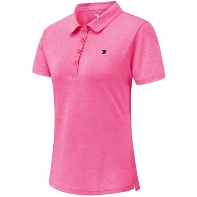 Gopune レディース ポロシャツ 半袖 ショートシャツ 吸汗速乾 通気 UVカット スボーツ カジュアル ゴルフ 襟付き 9色選択可(ピンク L)