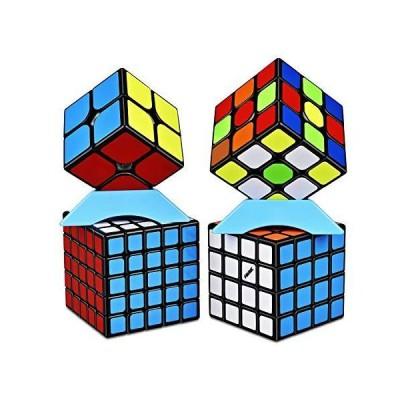 QiYi Magic Cube [2020最新] 魔方 3x3 競技用 立体パズル ポップ防止 (ブラック 4個)