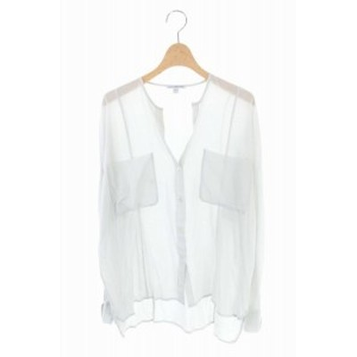 【中古】ジェームスパース JAMES PERSE STANDARD シルク混 薄手シャツ 長袖 胸ポケット ノーカラー 1 ライトグレー