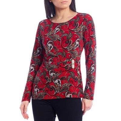 カルバンクライン レディース Tシャツ トップス Paisley Print Matte Jersey Side Shirred Metal Trim Long Sleeve Top Rouge Multi