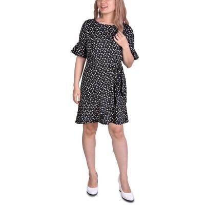 ニューヨークコレクション ワンピース トップス レディース Petite Belted Bell-Sleeve Dress Taupe Ditsy Floral