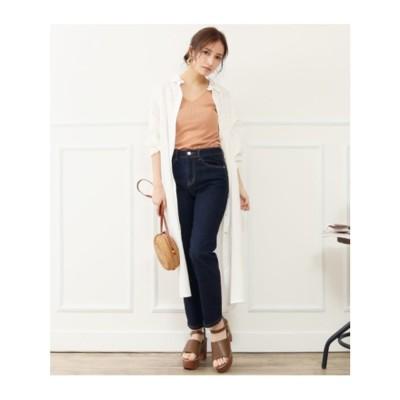 シンプルロングシャツ (ホワイト(001))
