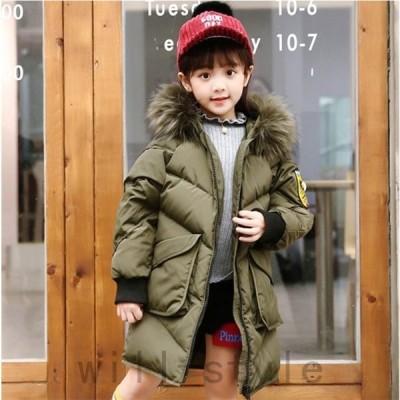 子供ダウンジャケット女の子中綿コート子供服レジャーファッション可愛いフード付きジュニアダウンジャケット