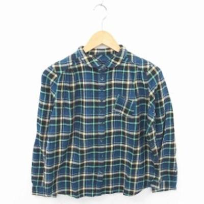【中古】ビュルデサボン シャツ ブラウス チェック ラウンドカラー 綿 長袖 F 青 緑 ブルー ライトググリーン