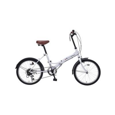 マイパラス(MYPALLAS) 20インチ折り畳み自転車 6段ギア LEDライト M-205E WHT (メンズ、レディース)