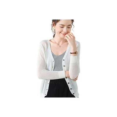Achruor レディース カーディガン カットソー Vネック UVカット ニット薄い 羽織り 長袖 冷房対策 上品 紫外線対策