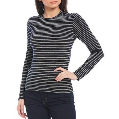 ラルフローレン レディース Tシャツ トップス Metallic Stripe Knit Jersey Crew Neck Long Sleeve Top Lauren Navy/Gold