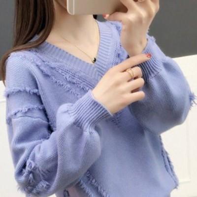 ふわふわフリンジデザインニット 5色 Vネック セーター タッセル トップス 長袖 無地 ミディアム フェミニン カジュアル きれいめ