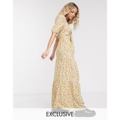 リクレイム ヴィンテージ レディース ワンピース トップス Reclaimed Vintage inspired tiered smock maxi dress with tie front in floral print