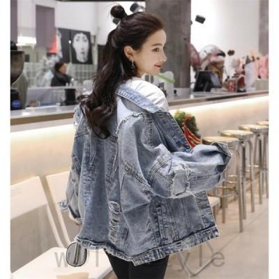 デニムジャケット韓国オルチャンストリートダンス衣装原宿系ダメージHIPHOPアメカジアウタージージャン