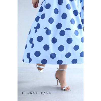(M~3L対応) FRENCH PAVE ふわり軽やかシルエット 水玉ミディアムスカート8月18日20時販売新作