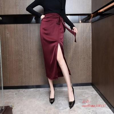 韓国 カジュアル スカート 女性 シルクスカート エレガント な女性サテン ロング スカート オフィス レディ ハイウエスト ボディコンスカート段 Faldas Muj