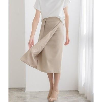 スカート タックリボン風ラップスカート