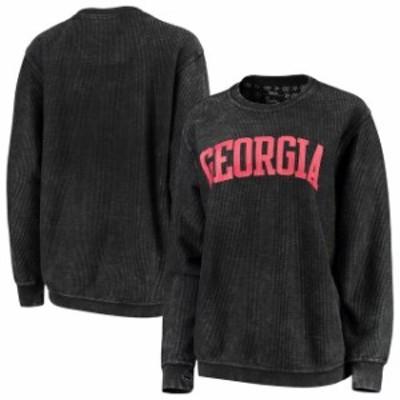 Pressbox プレス ボックス スポーツ用品  Pressbox Georgia Bulldogs Womens Black Comfy Cord Vintage Wash Basic Arch Pullover Sweats