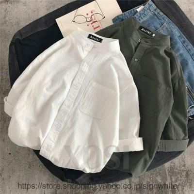 シャツブラウス長袖シャツトップス前開きシャツブラウス男性メンズ無地長袖ポケット付きシンプルコットン綿ゆったり体型カバー