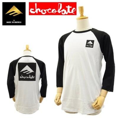 エメリカ×チョコレート コラボ Tシャツ 七分袖 ラグラン ブラック/ホワイト
