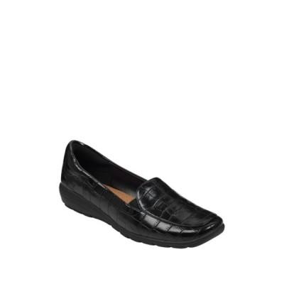 イージースピリット レディース サンダル シューズ Abriana Croc Embossed Faux Leather Loafer - Wide Width Available BLK01