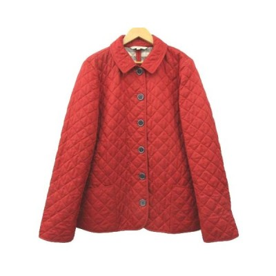 【中古】バーバリーブリット BURBERRY BRIT キルティング ジャケット 裏地ノバ チェック 中綿 コート トルコ製 XL 赤 レッド ECR レディース 【ベクトル 古着】