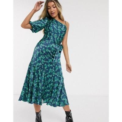 ゴースト Ghost レディース ワンピース ミドル丈 ワンピース・ドレス Raina floral asymmetric midi dress グリーン/ブルー