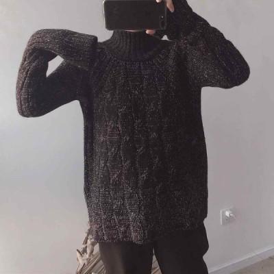 レディースニットセーターハイネック長袖ゆったりプルオーバートップス秋冬ブラックホワイトベージュフリーサイズ