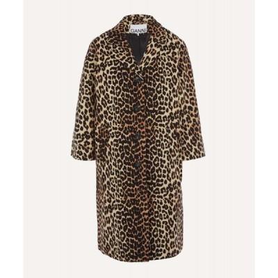 ガニー Ganni レディース コート アウター leopard linen-canvas coat