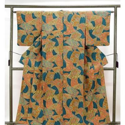 小紋 正絹 鏡裏鳳凰花模様 身丈157cm 裄丈62.5cm 小紋 リサイクル 着物