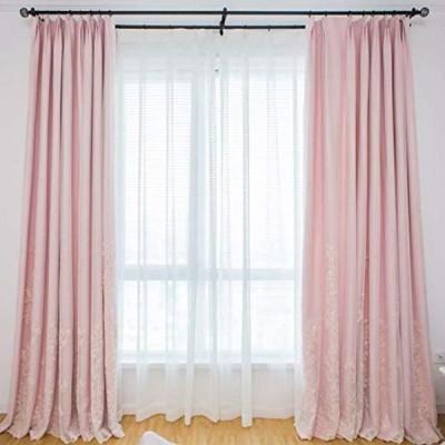 OSONA 北欧カーテン 遮光 二重カーテンレース 姫系カーテン 刺繍 一体型 掃き出し窓 腰窓 出窓用 遮光率90% アジャスターフック付