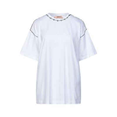 ヌメロ ヴェントゥーノ N°21 T シャツ ホワイト 38 コットン 100% / 金属 T シャツ