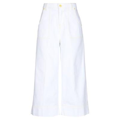 GAëLLE Paris デニムカプリパンツ ホワイト 25 コットン 100% デニムカプリパンツ